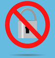 Ban lock padlock sign icon vector image