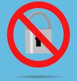 Ban lock padlock sign icon vector image