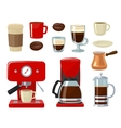 coffee icon set isolated on white vector image