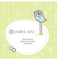 Greeting card winh cute bird vector image