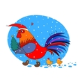 Cartoon rooster cute little chickens and vector image
