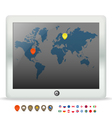 Modern touch gadget with world map vector image