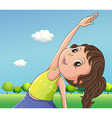 A cute little girl exercising vector image