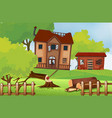old houses in the field vector image vector image