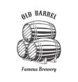 Logo design with wooden beer barrels for pab vector image