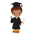 African American Little Boy Graduating vector image