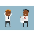Black businessman tearing apart a contract vector image