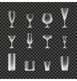Glasses and goblets transparent icons vector image