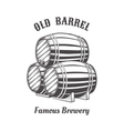 Logo design with wooden beer barrels for pab vector image