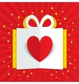 Paper heart in gift box with yellow flare stars vector image
