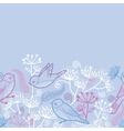 Pastel birds and flowers horizontal seamless vector image