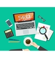 SEO analytics concept on workdesk search vector image