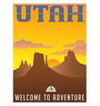 utah monument valley travel poster vector image