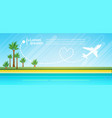 summer vacation tropical island plane in sky sea vector image