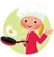 Chef flipping an fried eggs or a omelette vector image vector image