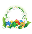 Easter eggs with lush foliage and daisies vector image