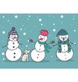 Set of 3 cute snowman vector image vector image
