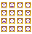 emoticon icons set purple vector image