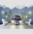 family driving in car vector image