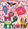 happy birthday Funny monsters party card design vector image