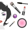 Set for makeup and female face vector image