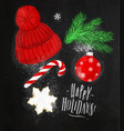 christmas symbols hat chalk vector image vector image