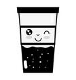 contour kawaii cute funny drink beverage vector image