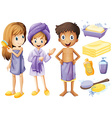 Children and bathroom objects vector image