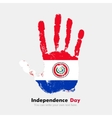 Handprint with the Flag of Paraguay in grunge vector image