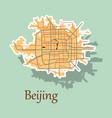 beijing city map sticker vector image