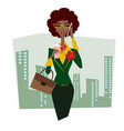 business lady in glasses with briefcase vector image