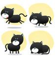 cartoon black cat set vector image