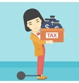 Chained business woman with bags full of taxes vector image