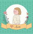 cute horoscope zodiac girl aries vector image
