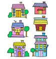 doodle of house set cartoon design vector image