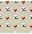 Seamless pattern with hearts and skulls vector image