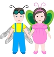 Two children wearing Halloween costumes vector image