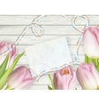 Vintage toned tulips and note paper EPS 10 vector image