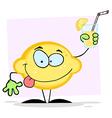Lemon Holding A Glass With Lemonade vector image vector image