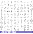 100 history icons set outline style vector image