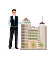 real estate broker presenting a model of modern vector image