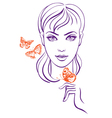 Beautiful girl with butterfly vector image