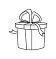 christmas round present box gift ribbon decoration vector image