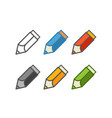 different color crayons set isolated on white vector image