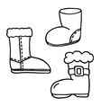Santa boot icons set vector image vector image