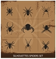spiders silhouettes collection vector image vector image