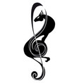 treble clef panther music tattoo stylized vector image