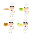 Cheerful chef serving dishes - set vector image vector image
