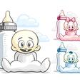 Babies and feeding bottle vector image