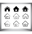 black house icons set on white vector image